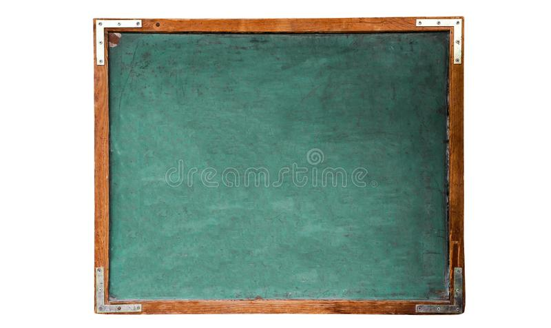 Green old grungy vintage wooden empty school chalkboard or retro blackboard with weathered frame isolated on seamless white royalty free stock image