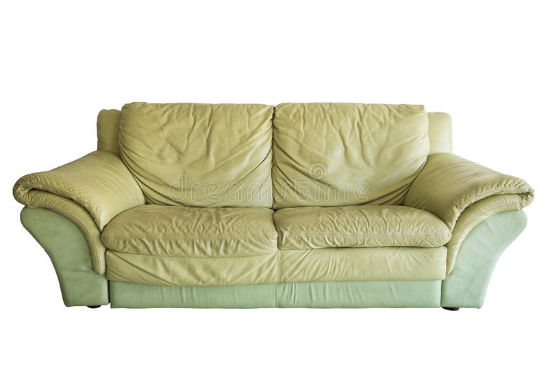Green old sofa. Isolated on white background royalty free stock photo
