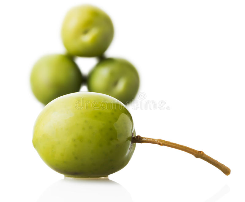 Green olive isolated royalty free stock photography