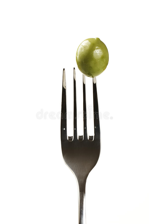 Free Green Olive On A Fork Stock Image - 15293821