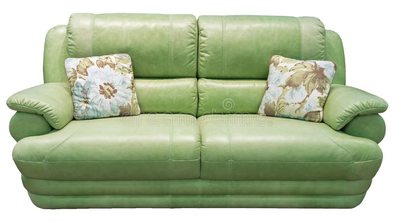 Green olive sofa with pillow. Soft khaki couch. Classic divan on isolated background. Leather fabric pistachio sofa. Green sofa with pillow. Soft emerald couch stock photos