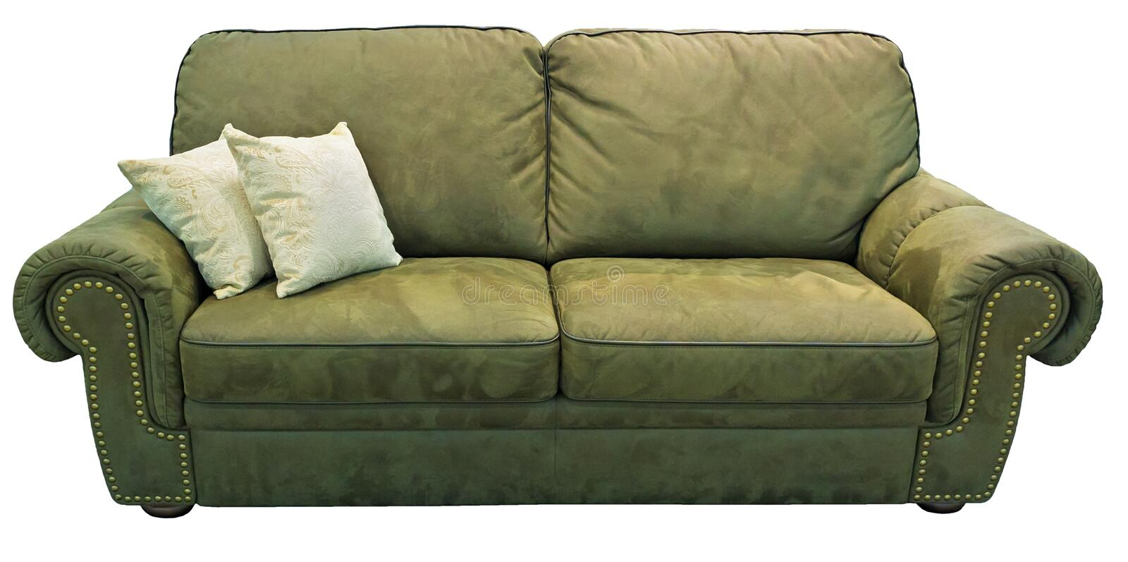 Green olive sofa with pillow. Soft khaki couch. Classic pistachio divan on isolated background. Velvet velor leather fabric sofa royalty free stock photo