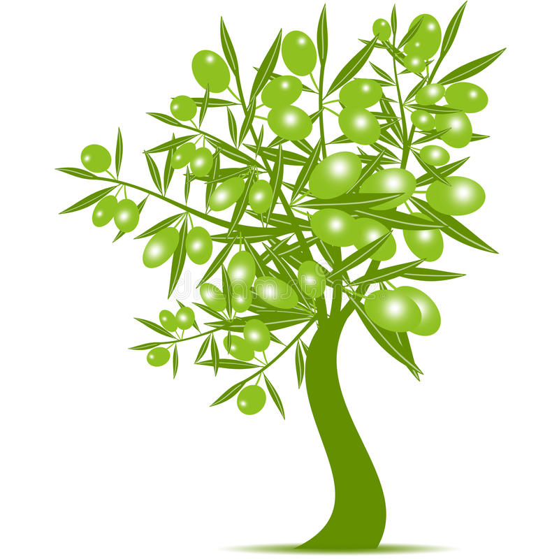 Green Olive Tree stock illustration
