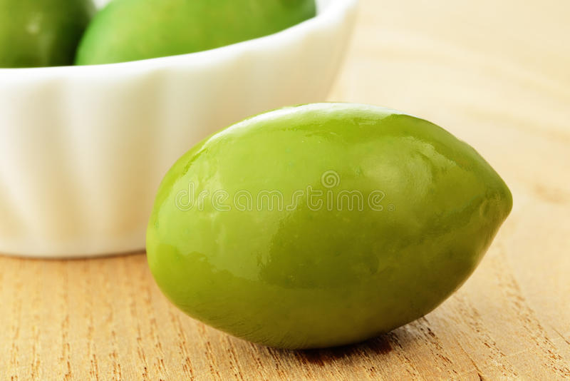 Green olive typical of Cerignola, Italy. Bella di Cerignola, green olive typical of Cerignola, Italy royalty free stock photos