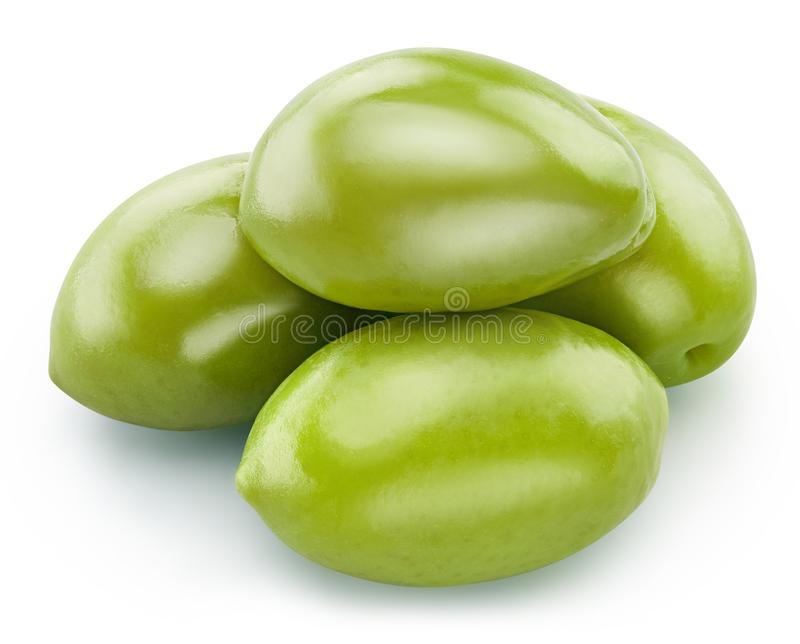 Green olives isolated stock photography