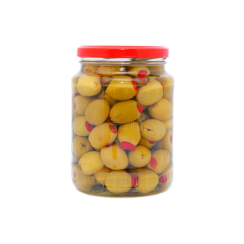 Green olives in a jar stock photo