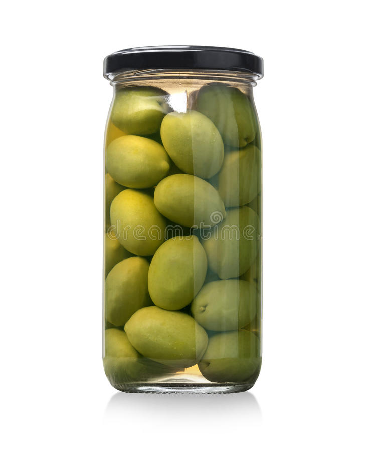 Green olives jar on a white background royalty free stock photography