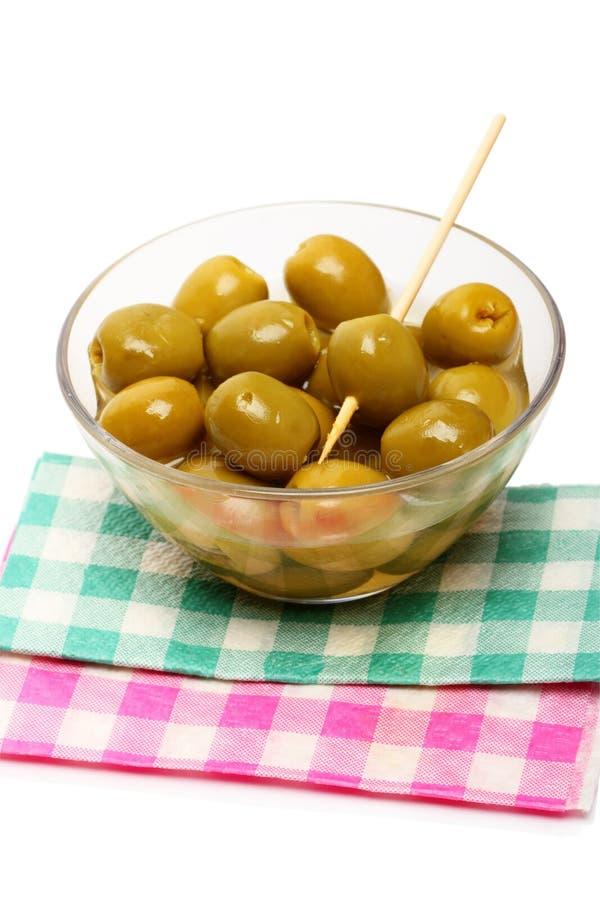 Green Olives On Napkins Stock Photo