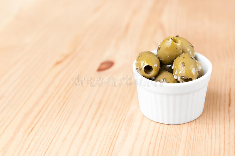 Green Olives In Olive Oil Stock Image