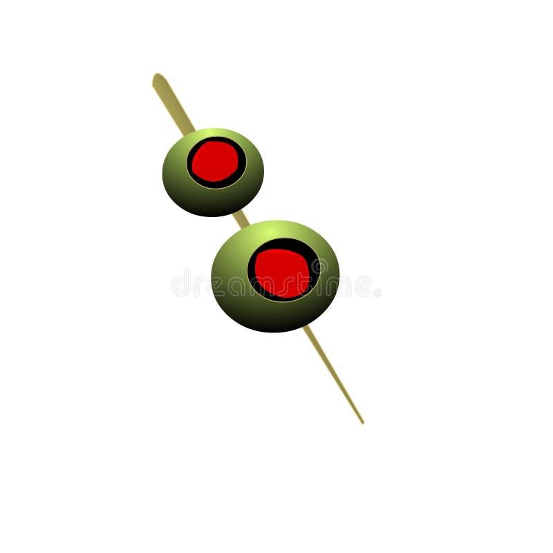 Green Olives on Pick vector illustration