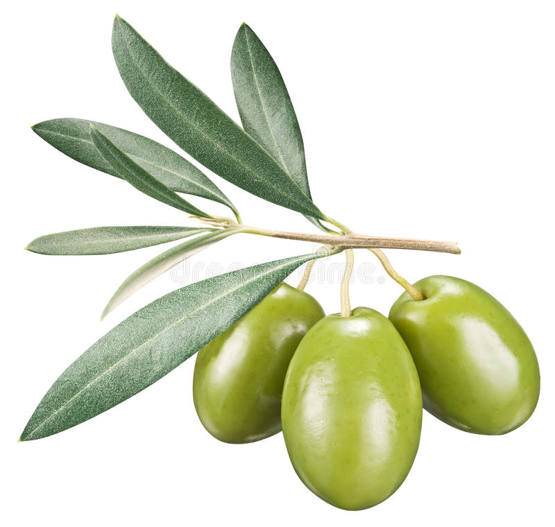 Free Green Olives With Leaves On A White Background. Royalty Free Stock Photo - 56904755