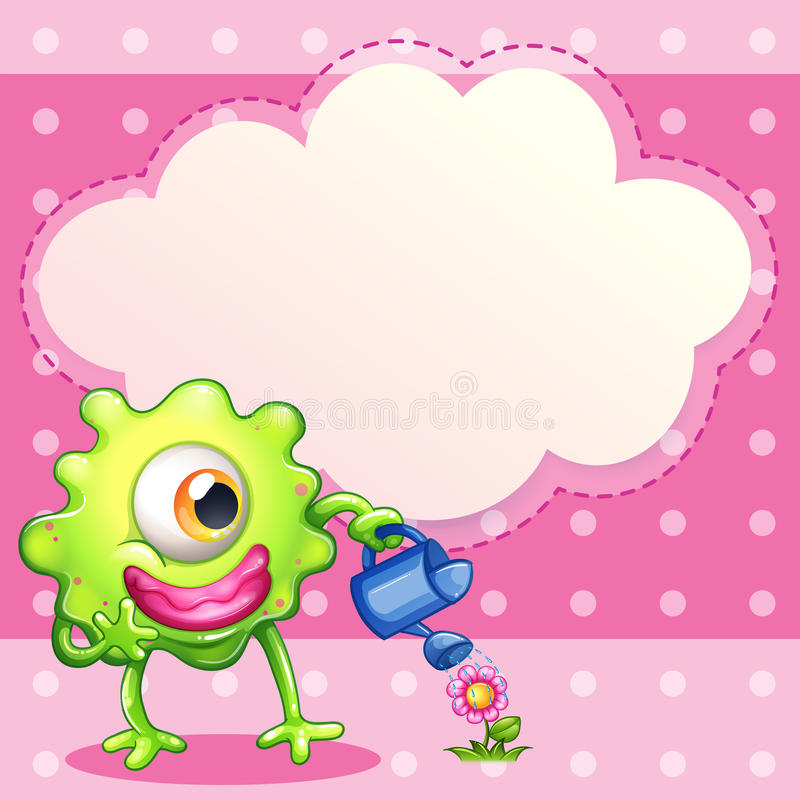 Download A Green One-eyed Monster Watering The Plant Stock Illustration - Image: 34316209