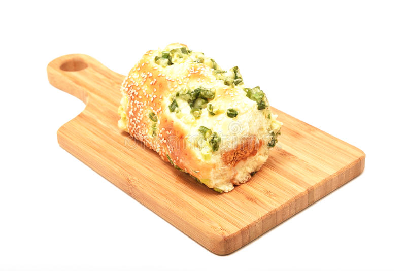 Green onion dried meat floss bread royalty free stock photography