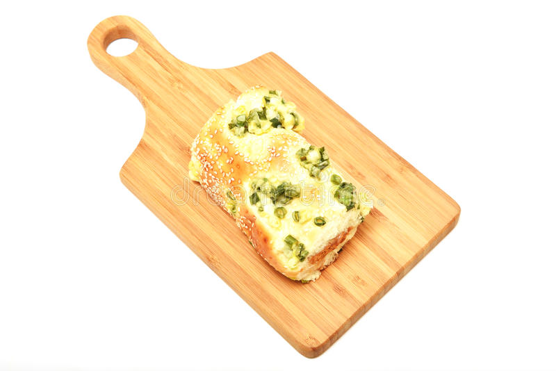 Green onion dried meat floss bread stock photography