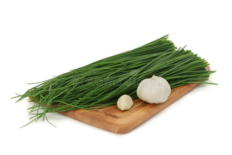 Download Green Onion, Garlic On A Board Stock Image - Image: 12689109