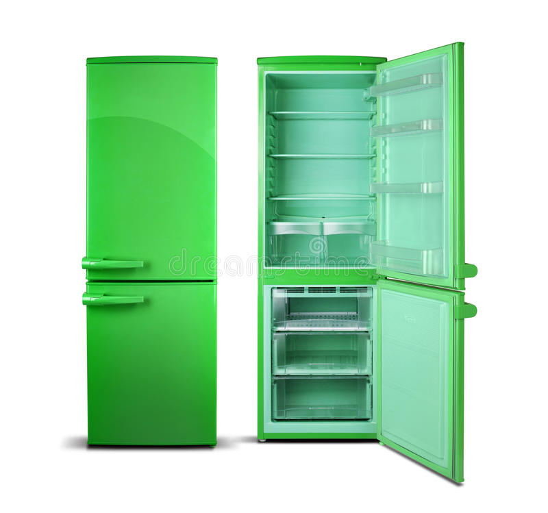 Green open refrigerator isolated on white. royalty free illustration