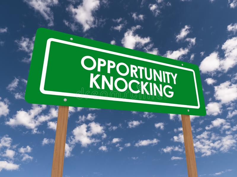 Opportunity knocking sign. A green opportunity knocking sign with the sky in the background stock photography