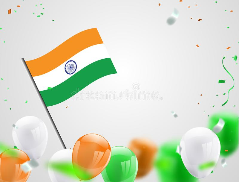 Green Orange balloons, confetti concept design Independence Day India Graphics. greeting background. Celebration Vector illustrati stock illustration