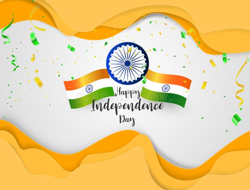 Green Orange confetti, concept design Independence Day India Graphics. stock illustration