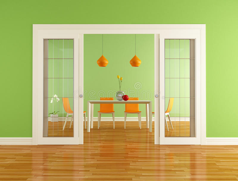Green And Orange Dining Room Royalty Free Stock Photo