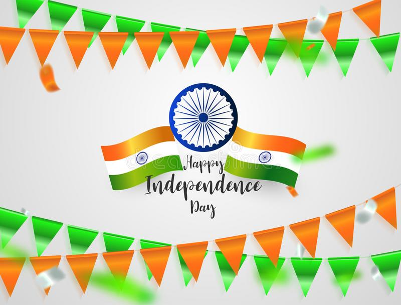 Green Orange flags, confetti concept design Independence Day India Graphics. greeting background. Celebration illustration. stock illustration