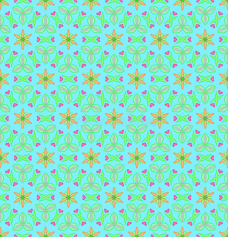 Green and orange flower with pink heart shape seamless patterns royalty free stock images