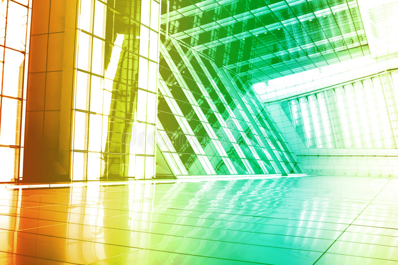 Green Orange Modern Building Abstract royalty free illustration