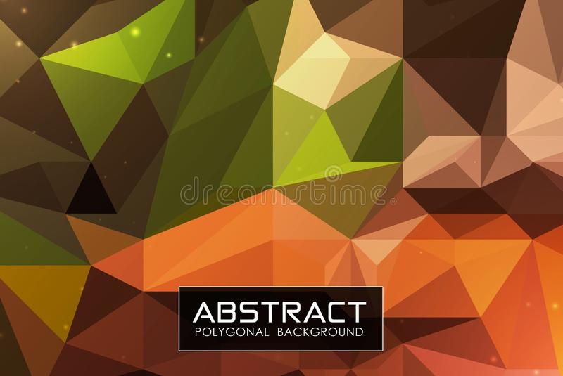 Abstract geometric low poly multi color background and futuristic particle royalty free illustration