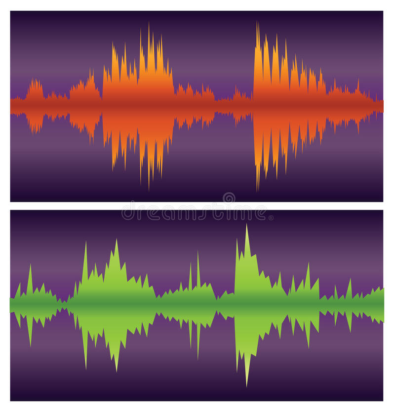 Download Green And Orange Sound Waves On Purple Stock Vector - Image: 17731613
