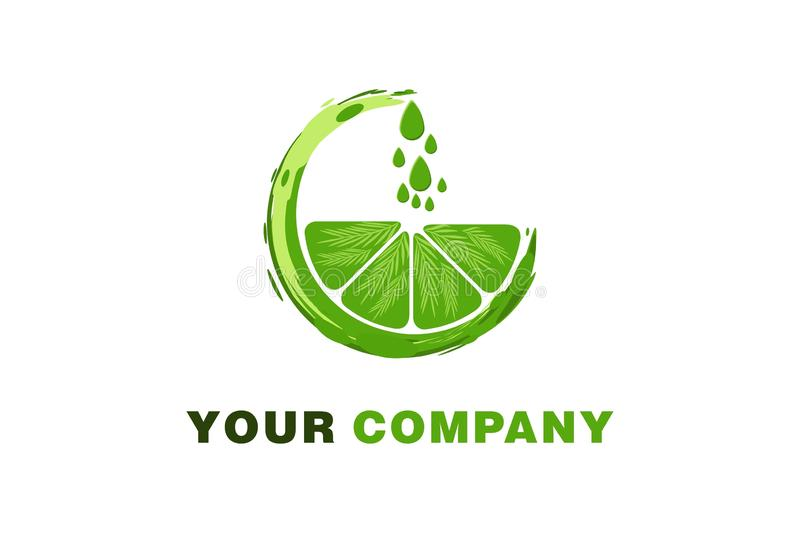 Green orange, water drop, Juice Logo Designs Inspiration Isolated on White Background. Green orange, water drop, Juice Logo Designs Inspiration Isolated on stock illustration