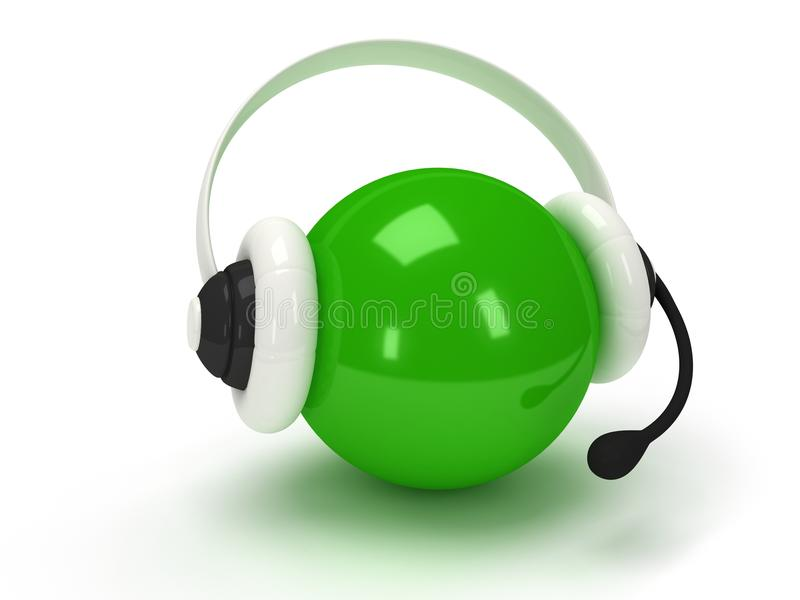 Green orb with headset over white royalty free illustration