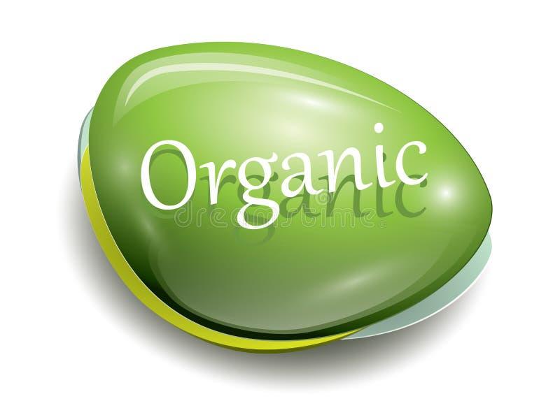 Green organic button vector illustration