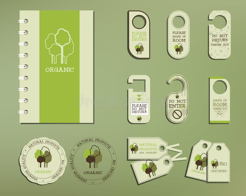 Green and organic corporate identity set template royalty free illustration