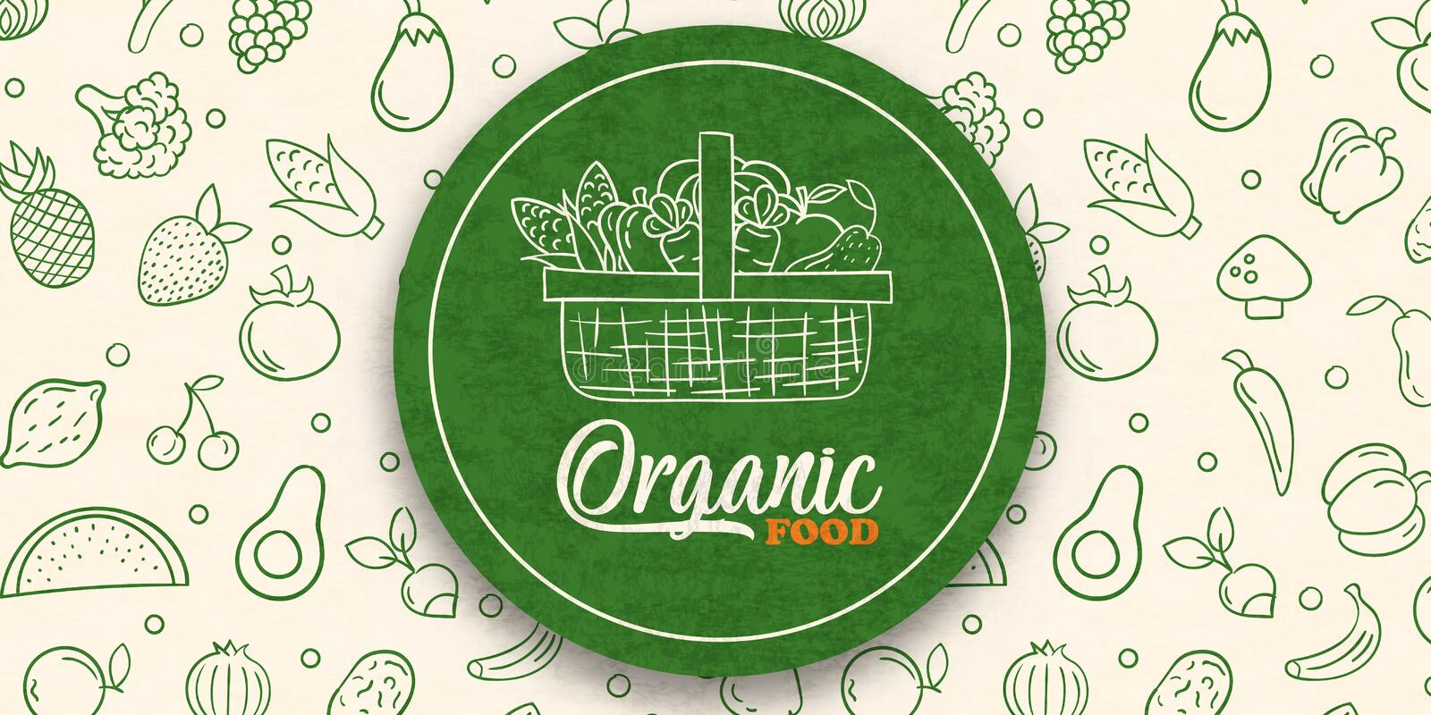 Green organic food label on vegetable background royalty free stock photos
