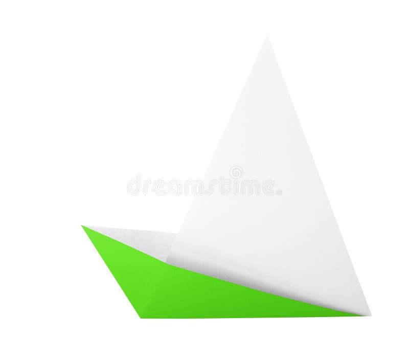 Green origami boat. Isolated on white background stock illustration