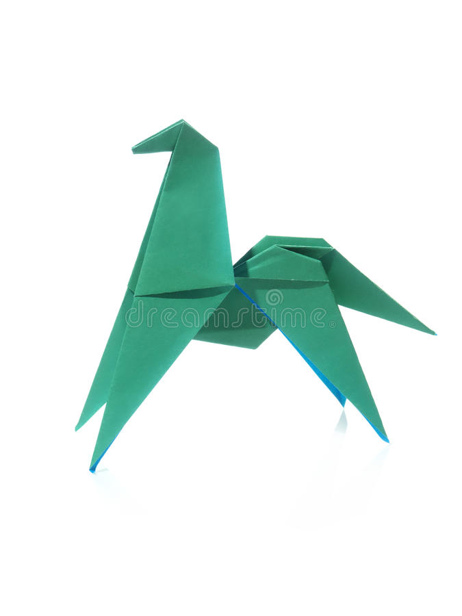 Green origami horse royalty free stock images