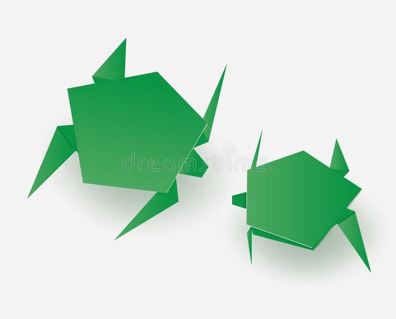 Green origami turtles on white background royalty free illustration