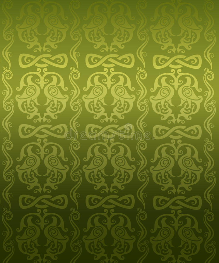 Download Green ornamental pattern stock vector. Image of gold - 12900064