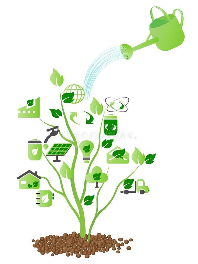 green över vatten stock illustrationer