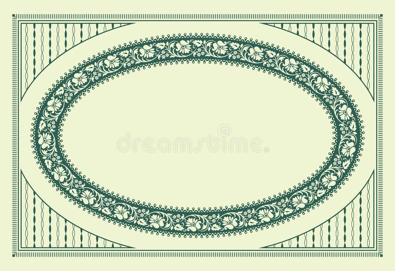 Green oval floral framework and texture. For announcement, label, card. Patterns are included in vector file vector illustration