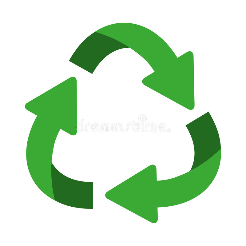 green oval recycling symbol shape with arrows royalty free illustration