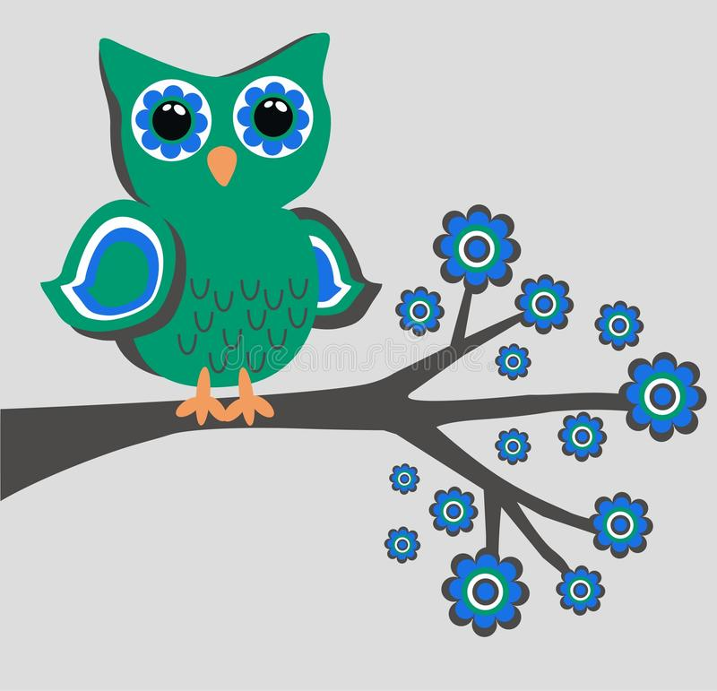 A green owl sitting in a tree. Illustration of a green owl sitting on a branch stock illustration