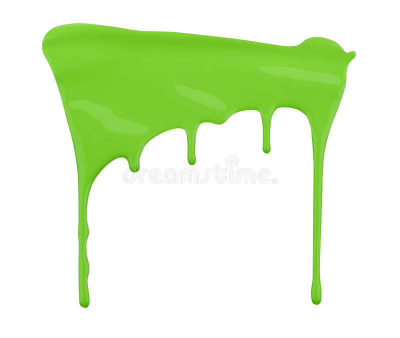 Green paint dripping isolated on white. Background stock photos