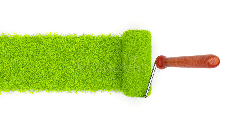 Download Green Paint Of Grass. Roller  3D Stock Photos - Image: 22416303