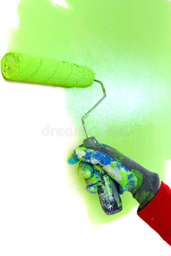 Download Green paint roller stock photo. Image of painter, designer - 19218280