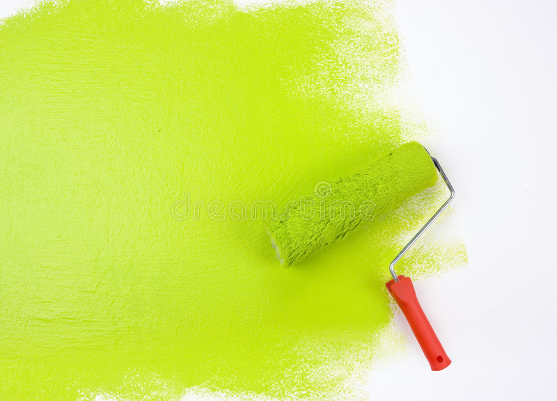 Green Paint Roller Royalty Free Stock Images
