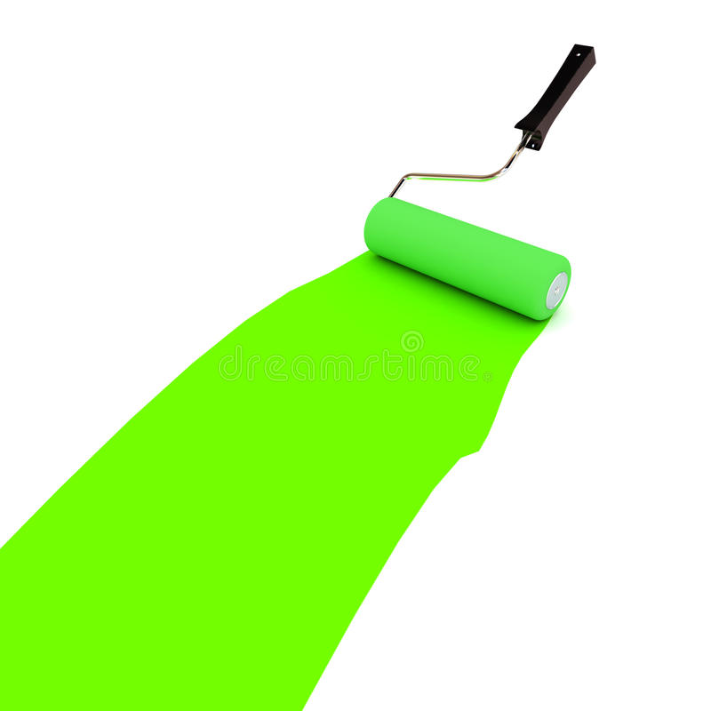 Green Paint Roller Stock Image