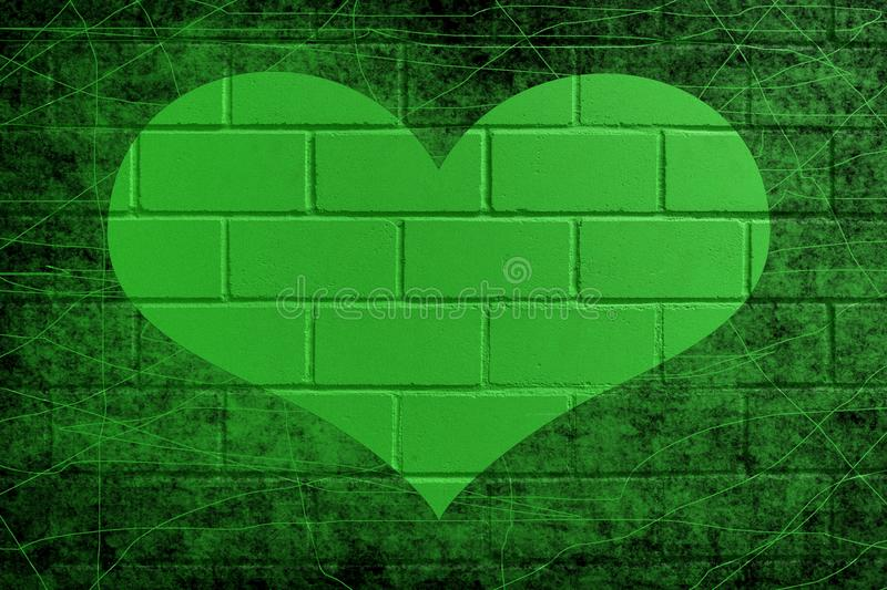 Green painted brick wall with heart stock images