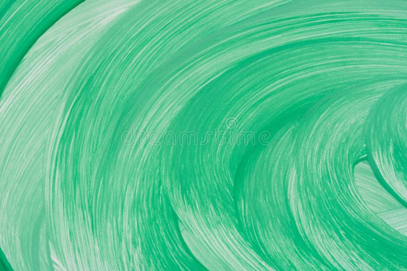 Green painted circle pattern on white paper background texture stock photos