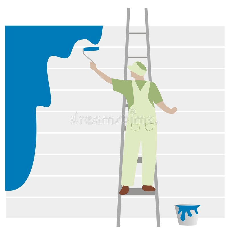 Green painter on blue royalty free illustration